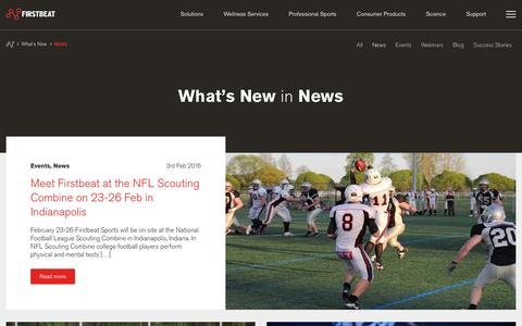 Screenshot of Press Page firstbeat.com - News Archives - Firstbeat - captured Feb. 10, 2016