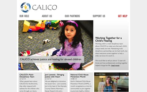 Screenshot of Home Page calicocenter.org - Welcome to CALICO - The Child Abuse Listening, Interviewing and Coordination Center — Homepage —  CALICO - captured June 21, 2015