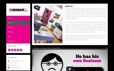 Screenshot of About Page tsdesigns.co.uk - TS Designs - Design | Web | Print | T: 0208 836 9010 | London - captured Feb. 17, 2016