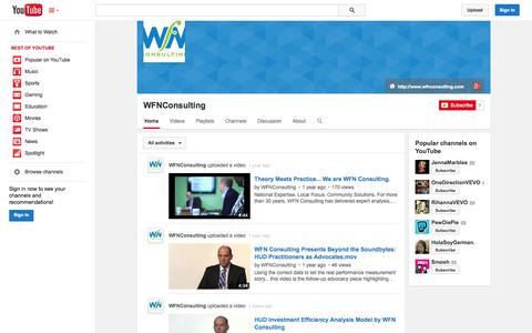 Screenshot of YouTube Page youtube.com - WFNConsulting  - YouTube - captured Oct. 26, 2014