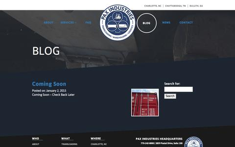 Screenshot of Blog paxind.com - Blog –  Pax Industries - captured Jan. 26, 2016