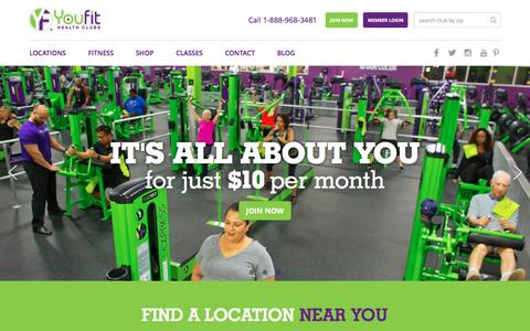Screenshot of Home Page youfit.com - Youfit Health Clubs | Health Clubs & Gyms Near Me - captured Feb. 16, 2016