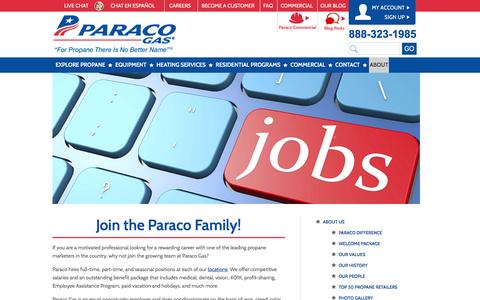 Screenshot of Jobs Page paracogas.com - Employment | Careers | Paraco Gas - captured Jan. 25, 2016
