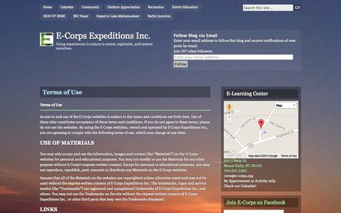 Screenshot of Terms Page e-corps.org - Terms of Use | E-Corps Expeditions Inc. - captured Nov. 1, 2014
