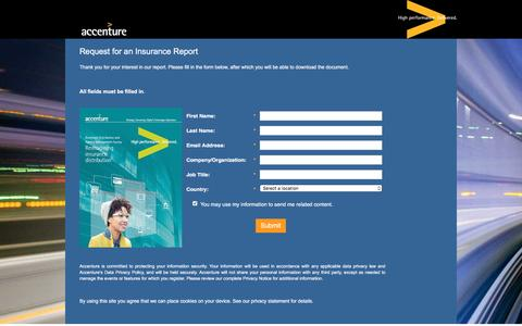 Screenshot of Landing Page accenture.com - Reimagining insurance distribution Distribution and Agency Management Survey - captured Oct. 29, 2016