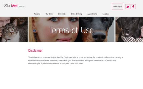 Screenshot of Terms Page skinvetclinic.com - Terms of Use | Oregon Veterinary Dermatology and Allergy Specialists, Lake Oswego, OR | Pet Owner and Veterinarian Center - captured Nov. 14, 2017