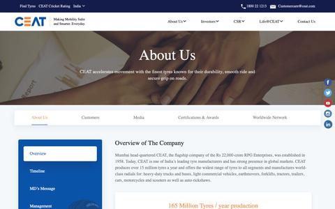 Screenshot of About Page ceat.com - About CEAT | Get information about CEAT Limited | Company and Management - captured Nov. 7, 2018