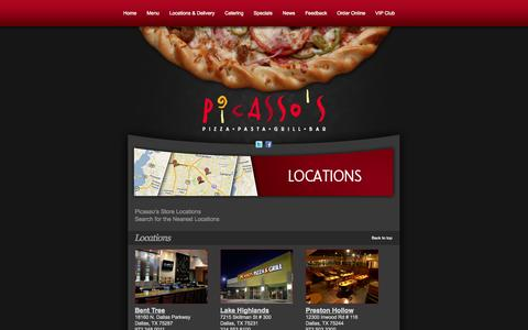 Screenshot of Locations Page picassospizza.com - Pizza Delivery and Dine-In Locations in Dallas - Bent Tree, Lake Highlands, Preston Hollow | Picasso's Pizza, Pasta, Bar & Grill - captured Sept. 29, 2014
