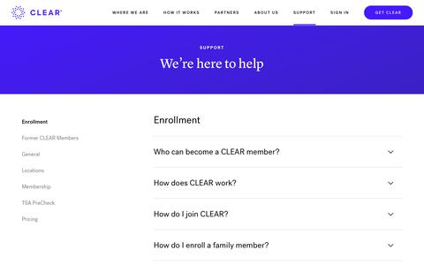 Screenshot of Contact Page Support Page clearme.com - We're Here to Help | Support | CLEAR - captured Nov. 9, 2018