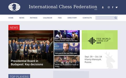 Screenshot of Home Page fide.com - International Chess Federation - FIDE - captured Sept. 20, 2019