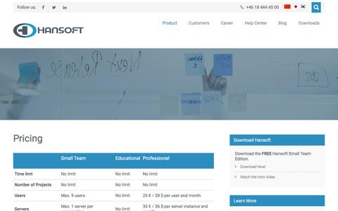 Screenshot of Pricing Page hansoft.com - Pricing – Hansoft - captured July 3, 2016