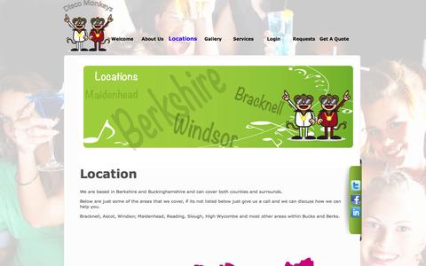 Screenshot of Locations Page discomonkeys.net - Party DJ | Wedding Disco | Disco Monkeys - captured Sept. 30, 2014