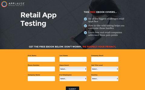Screenshot of Landing Page applause.com - Retail App Testing - Applause: 360° App Quality - captured Aug. 12, 2016