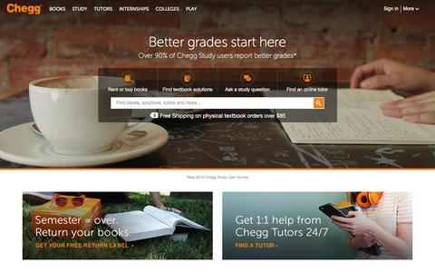 Screenshot of Home Page chegg.com - Chegg Đ Save up to 90% on Textbooks | #1 in Textbook Rental! - captured Dec. 11, 2015