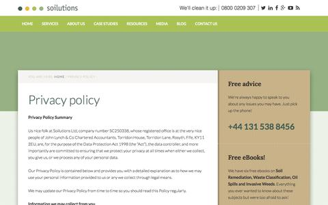 Screenshot of Privacy Page soilutions.co.uk - Privacy policy - captured May 24, 2018