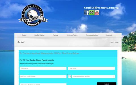 Screenshot of Contact Page nautilus.com.vu - Contact - Nautilus Watersports - captured Oct. 31, 2018