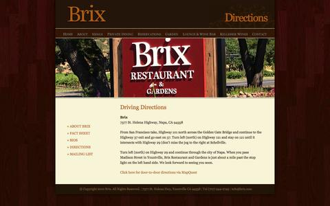 Screenshot of Maps & Directions Page brix.com - Directions | Brix - captured Oct. 5, 2014