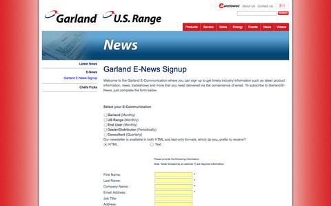 Screenshot of Signup Page garland-group.com - Garland E-News Signup - Garland - captured Oct. 2, 2014