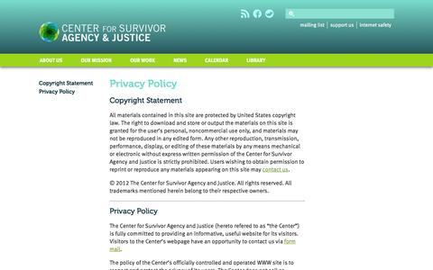 Screenshot of Privacy Page csaj.org - The Center for Survivor Agency and Justice: Privacy Policy - captured Oct. 2, 2014