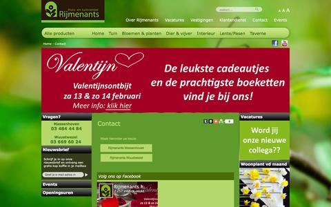 Screenshot of Contact Page rijmenants.be - contact - rijmenants - captured Feb. 15, 2016