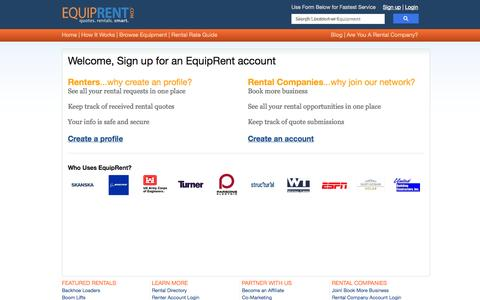 Screenshot of Signup Page equiprent.com - signup - captured Oct. 23, 2014