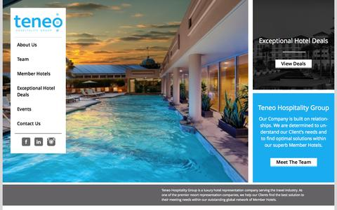 Screenshot of Home Page teneohg.com - Teneo | Luxury Hotel Representation Companies - captured Oct. 8, 2014