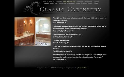 Screenshot of Testimonials Page classiccabinetry.us - Classic Cabinetry - testimonials - captured Sept. 29, 2014