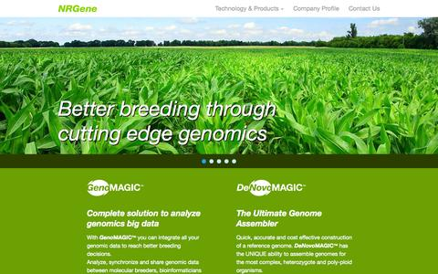 Screenshot of Home Page nrgene.com - NRGene - Better breeding through cutting edge genomics - captured Jan. 26, 2015