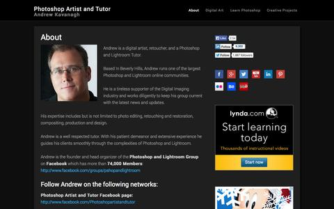 Screenshot of About Page andrewkavanagh.com - About | Photoshop Artist and Tutor | Andrew Kavanagh - captured Oct. 2, 2014