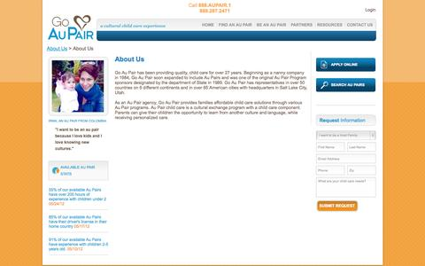 Screenshot of About Page goaupair.com - About Go Au Pair | Go Au Pair - captured Sept. 24, 2014