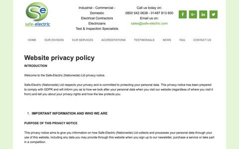Screenshot of Privacy Page safe-electric.com - Privacy & Cookies - captured Oct. 1, 2018