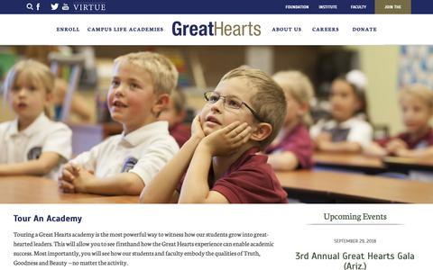 Screenshot of Signup Page greatheartsamerica.org - Tour An Academy : Great Hearts Academies - captured Sept. 29, 2018