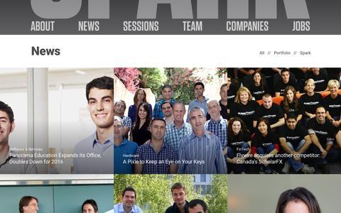 Screenshot of Press Page sparkcapital.com - News | Spark Capital - captured Jan. 27, 2016
