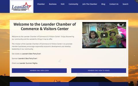 Screenshot of Home Page leandercc.org - Leander Chamber of Commerce - captured Sept. 9, 2017