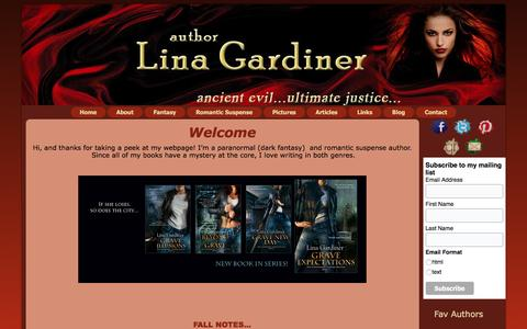 Screenshot of Home Page linagardiner.com - Lina Gardiner, Author – Paranormal and Romantic Suspense Author - captured March 14, 2016