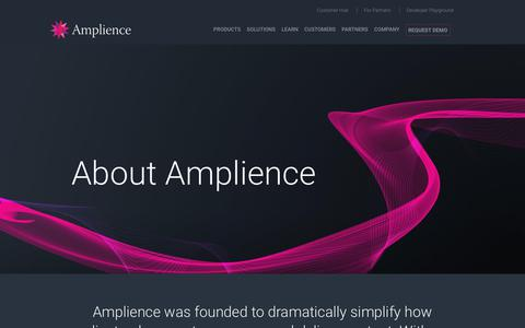 Screenshot of About Page amplience.com - About - Amplience - captured Dec. 7, 2018