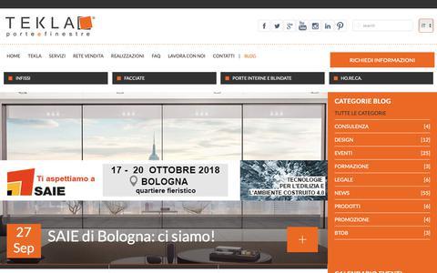 Screenshot of Blog teklaweb.eu - ::Tekla - Porte e Finestre | Azienda leader nella progettazione e produzione di infissi, facciate e chiusure edilizie - captured Oct. 18, 2018