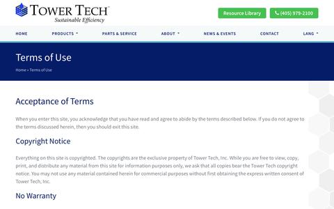 Screenshot of Terms Page towertechinc.com - Terms of Use | Tower Tech USA - captured Oct. 20, 2018