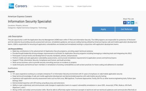 Screenshot of Jobs Page americanexpress.com - Apply For American Express Information Security Specialist job - Digital Commerce, Technology - Phoenix, Arizona - captured Dec. 12, 2016
