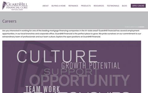 Screenshot of Jobs Page guardhill.com - Careers - Guardhill Financial Corp. - captured Sept. 30, 2018