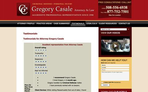 Screenshot of Testimonials Page lawworcester.com - Testimonials - Law Firm Gregory Casale Attorneys Worcester, Massachusetts - captured Sept. 30, 2018