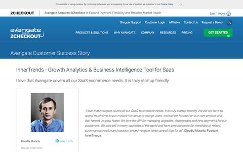 Screenshot of Case Studies Page avangate.com - InnerTrends - Growth Analytics & Business Intelligence Tool for Saas - captured April 13, 2018