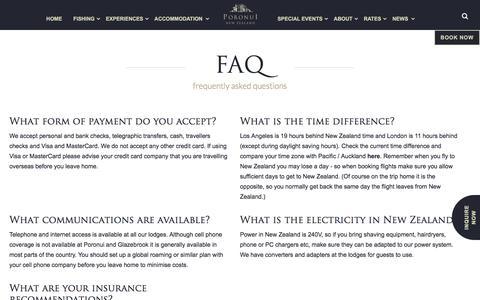 Screenshot of FAQ Page poronui.com - FAQ - captured Aug. 7, 2017