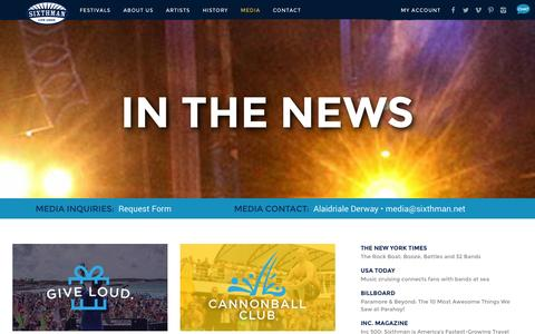 Screenshot of Press Page sixthman.net - Media | Sixthman - captured Sept. 19, 2014