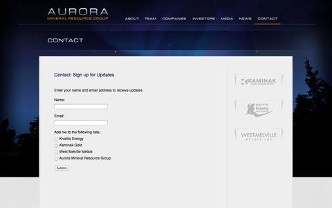 Screenshot of Signup Page auroraresource.com - Aurora Resource Group | auroraresource.com - Sign up for Updates - captured Oct. 27, 2014