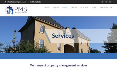 Screenshot of Services Page flatmanagers.co.uk - Our range of Property management services | PMS Flat managers - captured Sept. 26, 2018