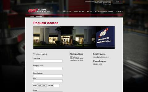 Screenshot of Login Page gshydraulics.com - Request Access | GS Hydraulics - captured Oct. 1, 2014