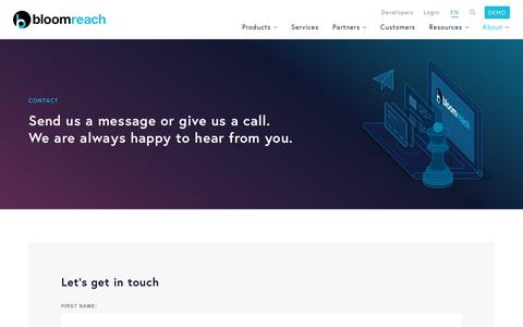 Screenshot of Contact Page bloomreach.com - Send us a message or give us a call. We are always happy to hear from you. - About us  - BloomReach - captured Jan. 15, 2018