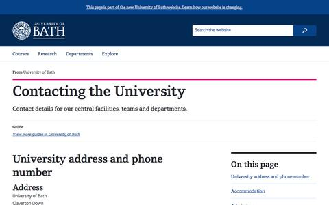 Screenshot of Contact Page bath.ac.uk - Contacting the University - captured June 21, 2017