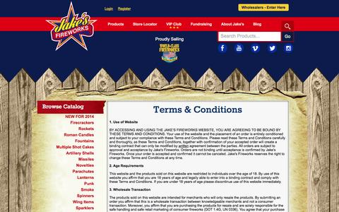 Screenshot of Terms Page jakesfireworks.com - Terms & Conditions - Jake's Fireworks - captured Sept. 19, 2014